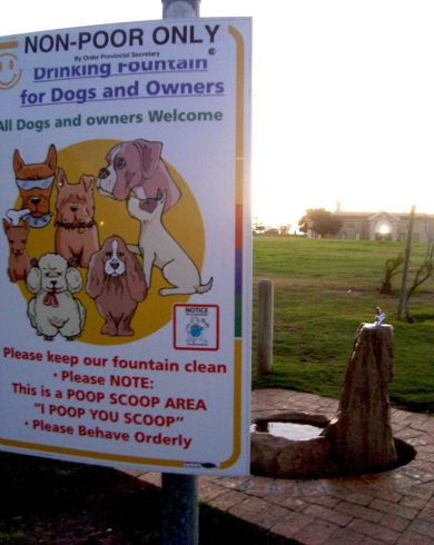 Special drinking fountains have been installed by the City of Cape Town along the Sea Point promenade for dogs and their owners who use the beachfront promenade primarily for exercise and play. In other parts of the city, lower-income households often cannot afford to pay for water and services are disconnected or reduced to a trickle while taps are being removed from public parks to prevent homeless people from using them. In rural areas and informal settlements communal taps are still being used and water points are generally not close to homes which is a source of vulnerability for women and children who are often tasked with its collection. Access to clean water is a basic human right and limited access to this resource results in unsafe and insanitary living conditions which is further exacerbated by the indignity of not being able to bathe regularly.