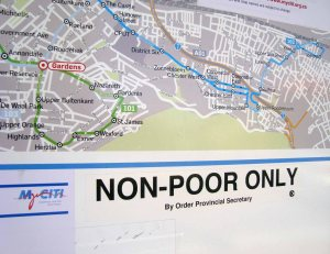 The City of Cape Town is still largely structured along apartheid era spatial divisions. With poor black people still living in Townships and ghettoes. The city of Cape Town in its policies and its implementation seems determined to maintain and intensify these spatial divisions. In its rollout of its MYCITI Bus Rapid Transport system (BRT) routes it has prioritized affluent and largely white areas where people have both access to private and public transport and easy access to their places of work and leisure. MYCITI also gives special attention to safety and security through the presence of extensive security personnel and the use of CCTV cameras.It also appears to fit in with the City's plans to prioritize pedestrianizition mainly within the Cape Town CBD and surrounding area. The City has focussed firstly on areas, like the Atlantic Seaboard that includes areas like Camps Bay, Sea Point, The Waterfront, Oranjezicht, Tamboerskloof, Hout Bay and others. These areas are also favored by tourists. One of the stated aims of MYCITI is to support and develop tourism and the image of Cape Town as a great place to live, invest in and visit. Even though the The City claims to want to create greater access to all parts of the city for work, study and leisure, Its phased introduction of the MYCITI contradicts this. The greatest need is in and from the townships , and the Cape Flats where most of the poor still live or are being relocated to.This is where commuters and the most vulnerable are more reliant on public transport and often have to travel long distances and in some cases use two forms of transport at great expense to get to low paying jobs, schools and medical care or search for work. Poor people are also thus denied access to the CBD in their leisure time and are thus confined to the ghettoes. In its phased rollout of MYCITI over a 15 to 20 year period, and this is dependent on funding from The National Department of Transport's Public Transport Infrastructure and Systems Grant, and the City of Cape Town, the affluent areas are prioritized and the apartheid era townships, the post Apartheid Temporary Relocation Areas like Blikkies dorp, and other poor communities on the Cape Flats will have to wait. This seems to fit in with the City of Cape Towns plan to project a part of the City as a world class city by denying transport and access to the many by confining the poor to the hidden parts of the city.