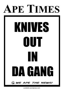 "The notorious Cape Flats gang-wars are threatening to spill over into more affluent areas as Cesar 'Killa' Zille and Brutus 'Blackface' Ramphele's blood feud captures the public's attention. In a statement released today by Cesar 'Killa', the bloodthirsty gang boss has indicated that her recently-almost-to-be-bed-partner has proven ""once and for all"" that 'Blackface' Ramphele cannot be trusted. 'Killa' has further claimed that ""Blackface' has been playing a game of cat and mouse with gang bosses, members and runners that has resulted in knives been drawn by various 2H pencils."