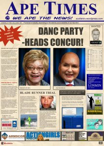 ANOTHER APE TIMES SCOOP! PRIMARY-PARTY-HEADS CONCUR! In an unconfirmed leaked serial-memo ubiquitously entitled ELECTION 419, it has become clear that the contested position of Chief Induna for the DANC Party has taken a new and scary twist as Jacob Zille and Helen Zuma prepare for the open-internal election that will see one of these two colossi become the most popular Party-Head as voted for the DANC partiers.  The Ape Times has religiously been following this often public dispute as the two former lovers have traded insults, dinners, hotel rooms, death threats and even Christmas gifts over the past few months since the party was launched without pomp and ceremony (due to budgetary restraints) last year.  The Ape Times can now inconclusively reveal that after months of wrangling, the two Primary-Party-Heads have finally agreed that the Party is more important than the egos who attend. In a joint statement that our reporter truly believes will be released soon, it will become clear that the Primary-Party-Heads are not going to let their 'personal spat' (as they have both referred to it before) to stand in the way of the Party achieving a two-thirds majority of DANCers at the next party gathering which will coincide with the upcoming general elections scheduled to take place at an as yet undisclosed time and with an undisclosed but undoubtedly hefty covert-charge.