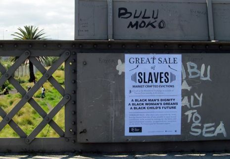 GREAT SALE OF SLAVES MARKET CRAFTED EVICTIONS I will sell at the Woodstock Exchange on a credit of Twenty Four months, with interest... A BLACK MAN'S DIGNITY A BLACK WOMAN'S DREAMS A BLACK CHILD'S FUTURE TERMS OF SALE.- One-third cash; remainder by bond, bearing interest from day of sale, payable in equal annual instalments, to be secured by mortage on the slaves, and approved personal security, or approved city acceptance on the above. Purchasers pay for necessary papers. THE WOODSTOCK EXCHANGE